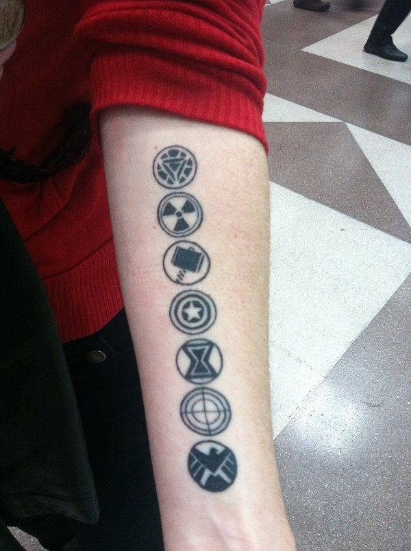 Avengers assemble! This striking tattoo belongs to @StrangeLikeThat. She put the design together herself, and I think it's just beautiful. The geek ink includes (from the top down) Iron Man, Hulk, Thor, Captain America, Black Widow, Hawkeye, and the S.H.I.E.L.D. logo.