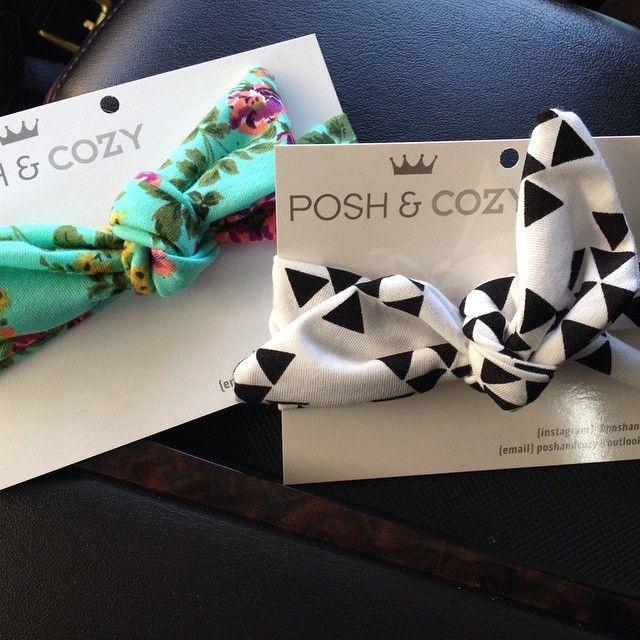 Posh & Cozy retail headbands.  Top knots.