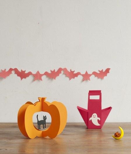 ネコが揺れるかぼちゃのオブジェとおばけがかわいいお菓子入れ。/ハロウィーンを楽しもう!(「はんど&はあと」2011年10月号)