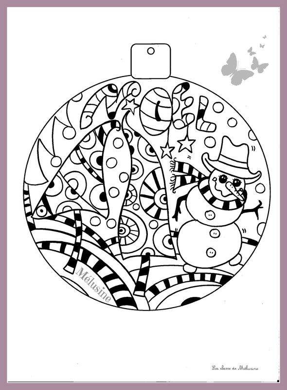 1000 images about coloriages on pinterest folk art - Coloriage boule noel ...