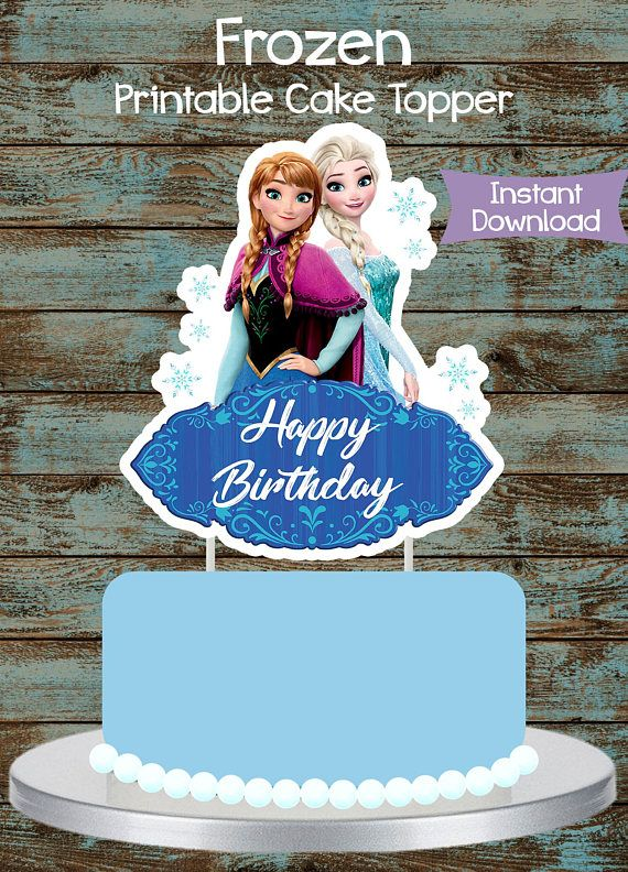 Printable Frozen Topper Cake Centerpiece Disney Birthday Party DIY Decorations Elsa And Anna