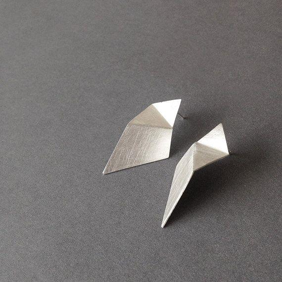 Geometric Silver Earrings Triangle Sterling Silver by RawObjekt