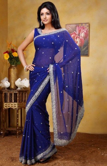 Royal Blue Saree with Blouse