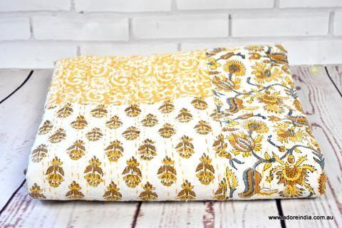 Mustard Khadi Patch Hand Block Kantha Quilt
