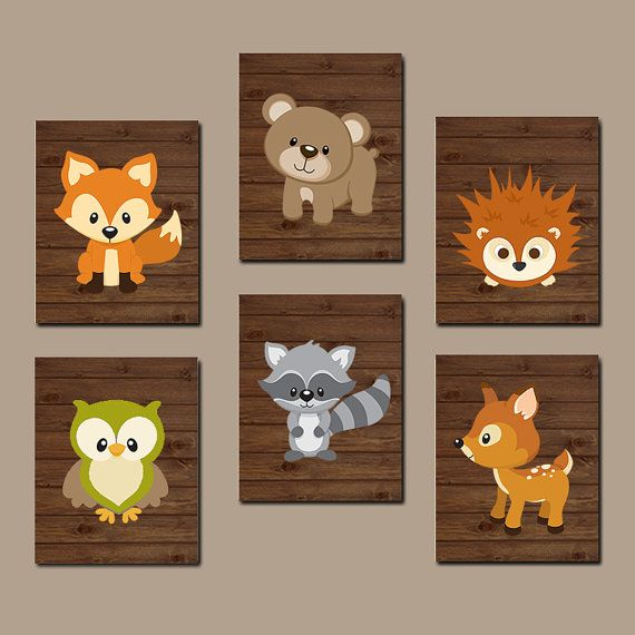 WOODLAND Nursery Wall Art, Woodland Nursery Decor, WOODLAND Animals Decor, Woodland Baby Shower Canvas or Prints Set of 6 Wall Decor