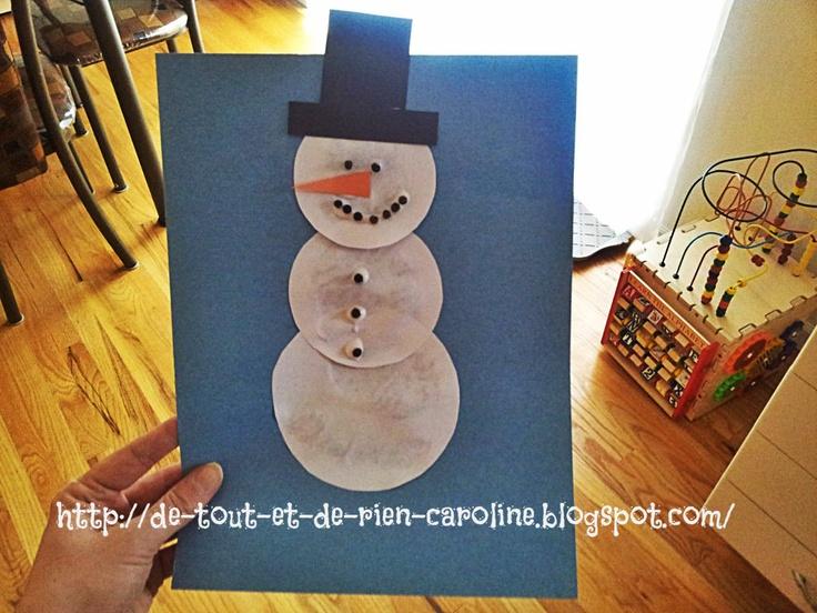 De tout et de rien: Activités pour le Préscolaire: Collage d'un bonhomme de neige
