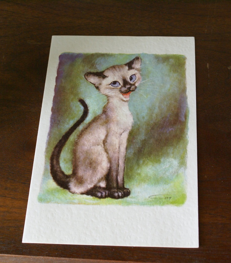 Vintage Gig Pity Kitty Cat -  Big Eyed Stationery Note Print