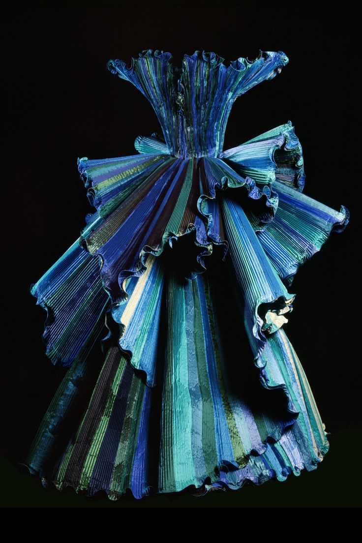 Roberto Capucci '' Ocean ''  c.1998  - Opposing colors or gradient as example on this dress  made of taffeta in a multiple range of tints of the same. - Roberto Capucci Foundation Archive 1998. (Photo by Fiorenzo Niccoli)