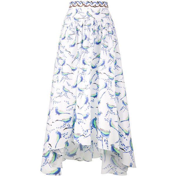 Peter Pilotto bird print asymmetric skirt (3.355 BRL) ❤ liked on Polyvore featuring skirts, white, white high low skirt, white skirt, high waisted knee length skirt, high waisted midi skirt and high low skirt