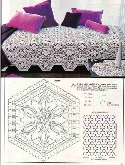 Simple hex bedspread with diagram (what you see here)