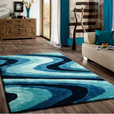 Rug Factory Plus Living Shag Shades of Turquoise Rug