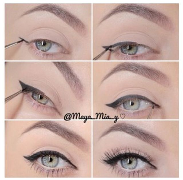 Super easy way to recreate that winged eyeliner! To make it easier..use the Motives Precision Eye liner...it's like a fine-point pen! @ellafuma
