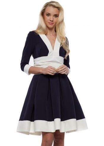 Just Unique Cayla Navy Contrast Hem Long Sleeve Midi Length Skater Dress