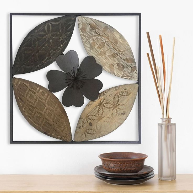Stratton Home Decor Carved Wood/Metal Flower Wall Art