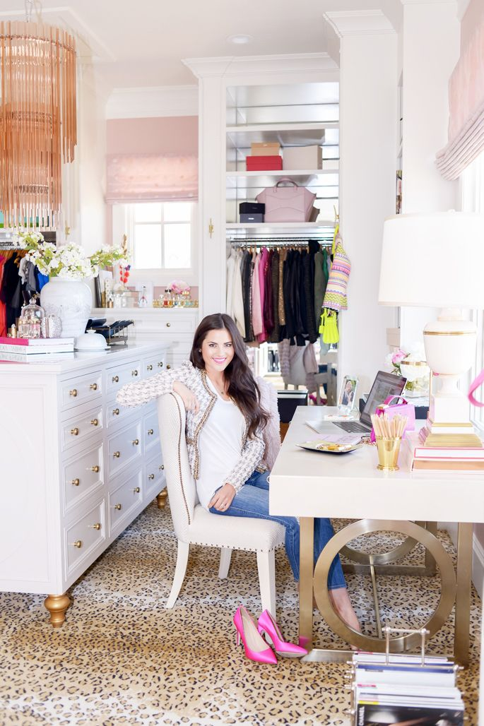 Closet with desk - she literally has the perfect closet!