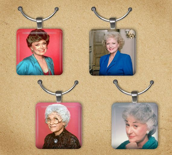 The Golden Girls Set Of 4 Wine Charms, Best Friends Tile Charms, 80's TV Pendents on Etsy, $12.00