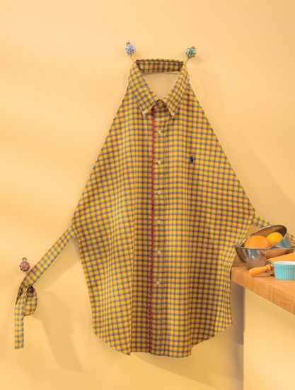 Repurpose a men's button-down shirt into a practical cooking cover-up! Designed by Linda Turner Griepentrog for the book Kitchen Stitches.