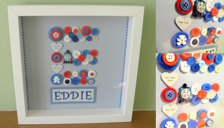 Personalised gift for a new arrival - your choice of colour scheme and detaisl. Frame 23x23cm £15