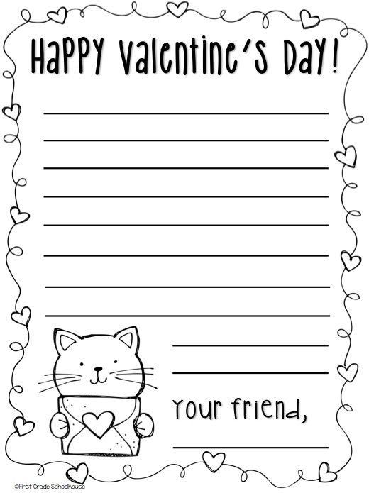 Valentine Notes. Writing notes printables with a heart/Valentine's Day theme. Free download.