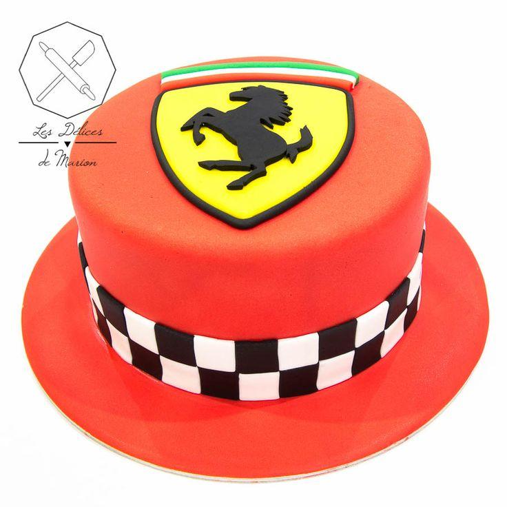 Cake design. Gâteau personnalisé en pâte à sucre sur le thème logo Ferrari. Sugar paste Ferrari logo themed cake by Les Délices de Marion.