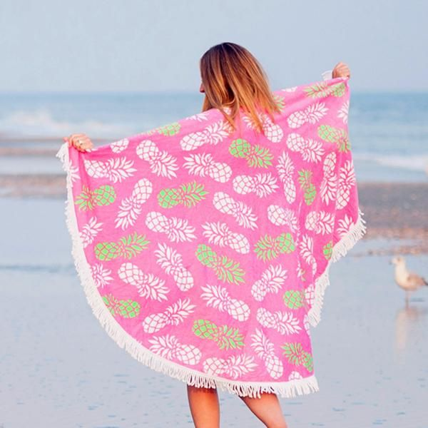 Round is the new rectangle for beach towels and we have a perfectly preppy print with our new Pineapple of My Eye Monogrammed Sand Circle Towel.   Pair with matching pieces from the Pineapple of My Eye Collection  - www.beaujax.com