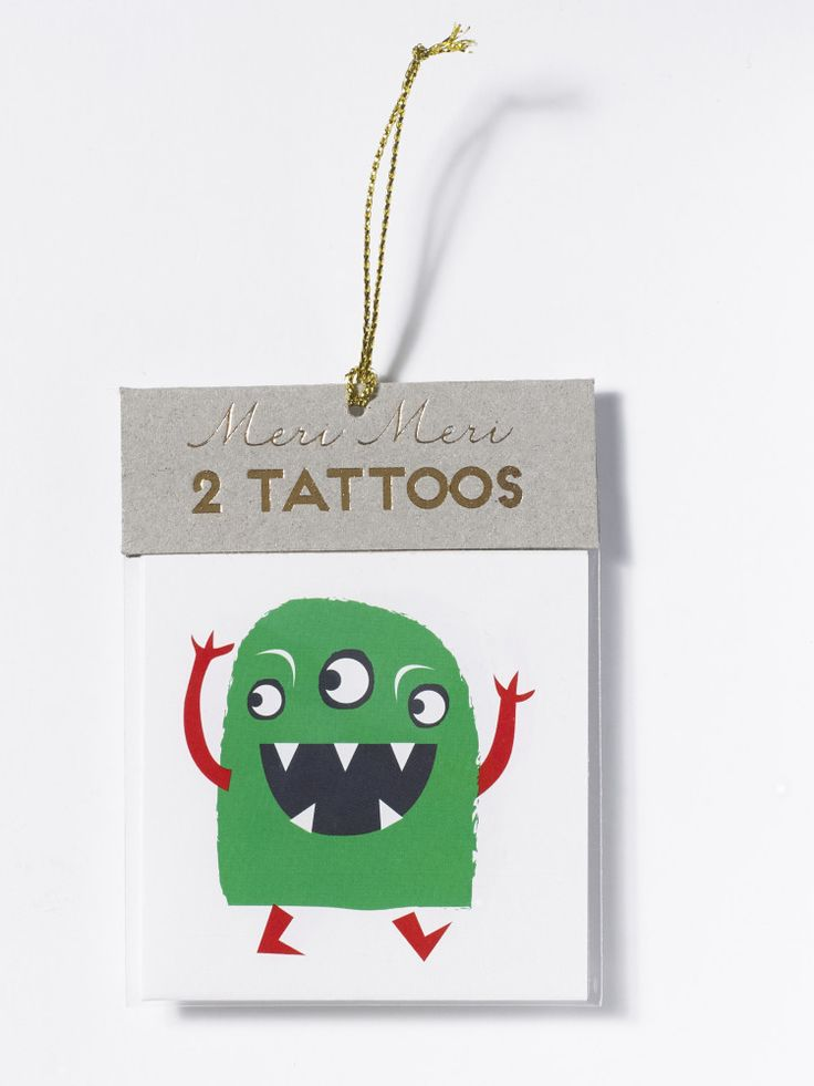White Stuff | Monster Tattoo. Delight your mini party guests with this pack of two temporary monster tattoos. They're a great party bag filler, particularly for monster themed parties.