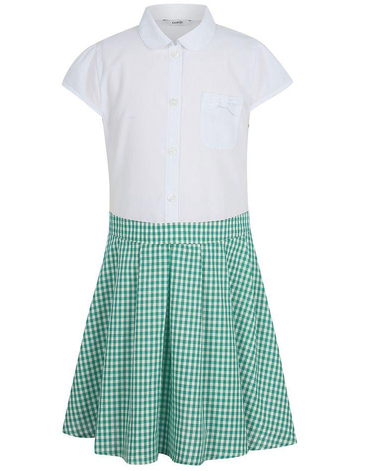 Girls School Gingham Dress – Green | School | George at ASDA