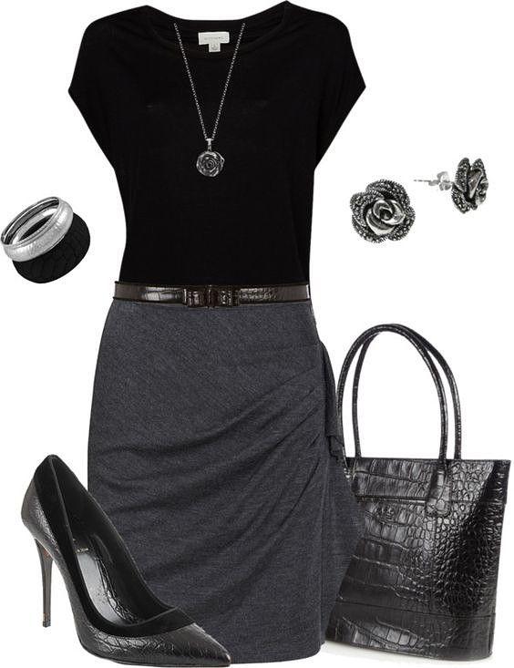 9 Ideas de outfits ideales para la oficina. Colores clave - el gris y el negro