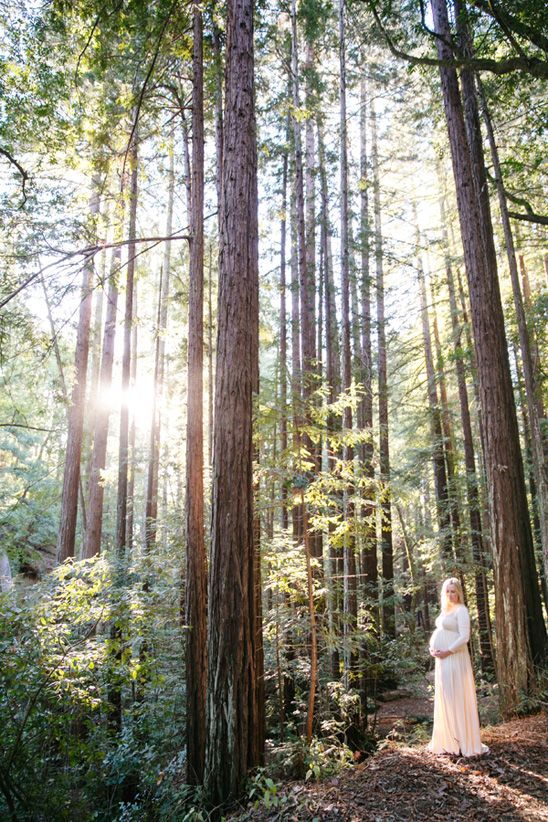 """Beautiful Sunrise Maternity Shoot in the Forest Love her dress, the lighting, and the location. I just wish that every photo wasn't a """"hands on the belly"""" pose."""