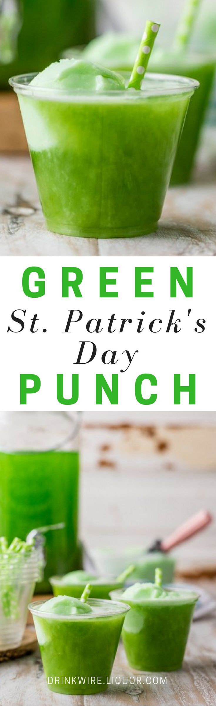 Fruity and citrus flavors come together to make this beautiful green punch, perfect for St. Patrick's Day! Spike it with the alcohol of your choice to make this fun treat extra special!