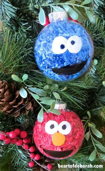 DIY Kid Made Ornaments Inspired By Our Favorite Cartoon Characters (Elmo and Cookie Monster)