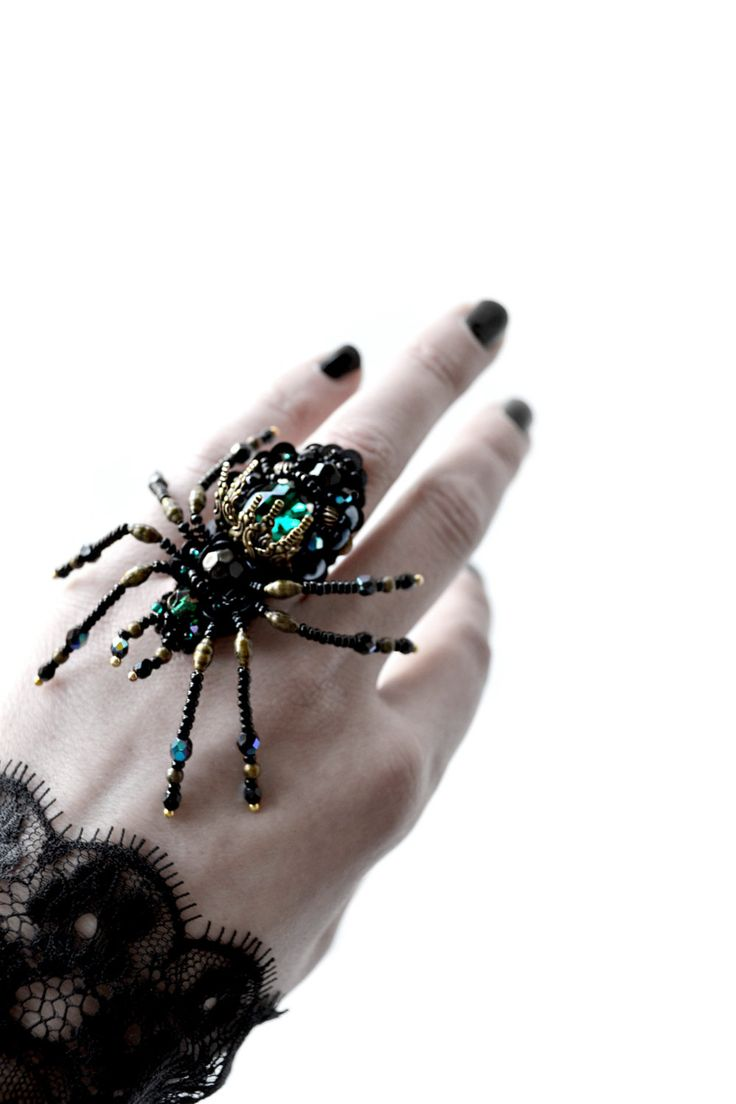 Spider jewelry, large gothic spider ring adjustable black emerald spider bead embroidered ring, Black weddings, unique gift for sister by DarkPearlBoutique on Etsy https://www.etsy.com/listing/227535250/spider-jewelry-large-gothic-spider-ring