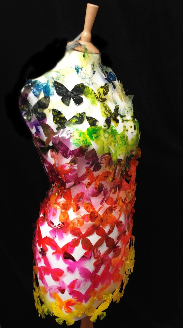 butterfly installation created into dress