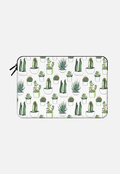 Casetify Macbook Air 13 Macbook Sleeve - Watercolour Cacti & Succulents by Vicky Webb #Casetify