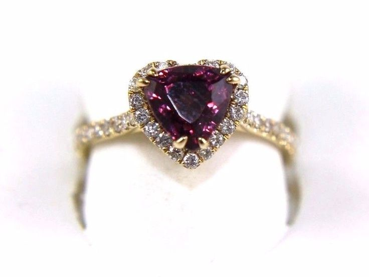 This a Fine Heart Shape Pink Tourmaline Gemstone Ring w/Diamond Halo & Accents. It has a CTW of 2.30Ct and weighs 3.3 grams. The fancy diamonds have a clarity of SI2 and G color. This beautiful custom piece has an excellent heart cut pink tourmaline gemstone, surrounded by a diamond halo with accents. | eBay!