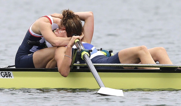 Home team Great Britain's Heather Stanning and Helen Glover celebrate after winning the gold in the Women's Rowing Pair competition. This was Britain's first gold of the 2012 Summer Olympics.