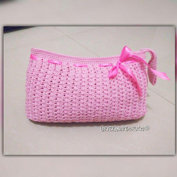 Crochet bag Start base 45 ch with double yarn