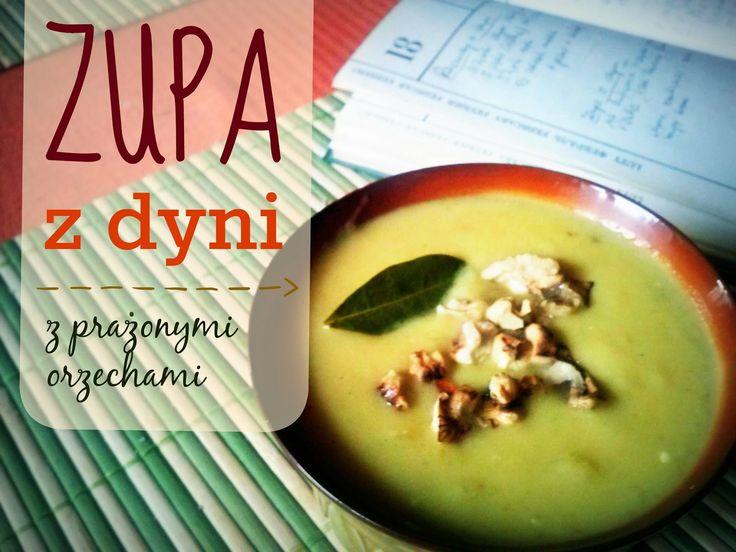 Zupa z dyni z prażonymi orzechami