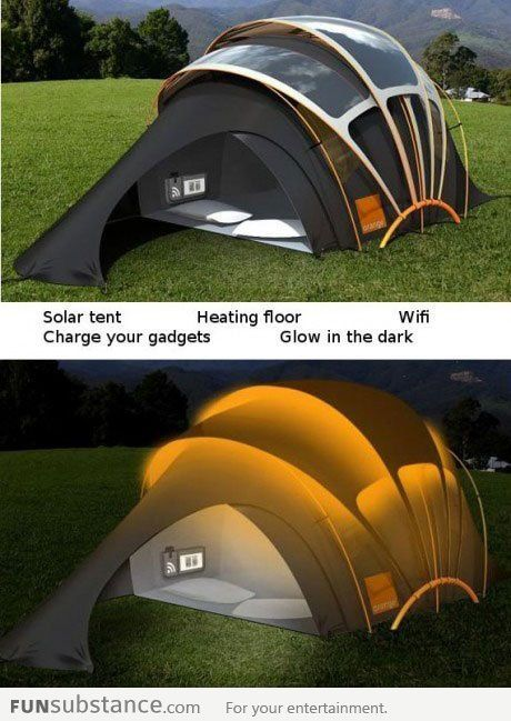 Solar powered camping -- heated, with gadgets. #hiking #outdoor #gear THIS is how you go camping