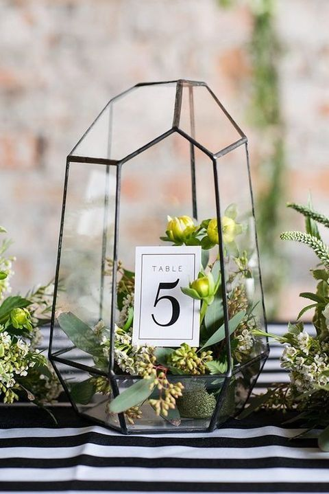 Use terrariums to hold table number cards for your wedding! Add color and fresh accents with small bud flowers and sprigs.  http://www.lightsforalloccasions.com/p-6238-terrarium-geometric-glass-75-in-tall-x-5-in-wide-clear-bronze.aspx