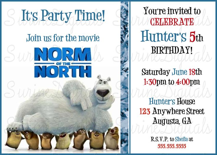Norm Of the North Birthday party Invitation/ Childrens Movie Norm Of the North Themed Party Invite