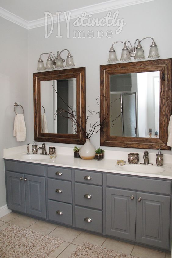Painted Bathroom Cabinets Gray and Brown Color Scheme ...