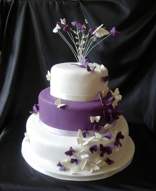 purple butterfly wedding cake by caketasia, via Flickr