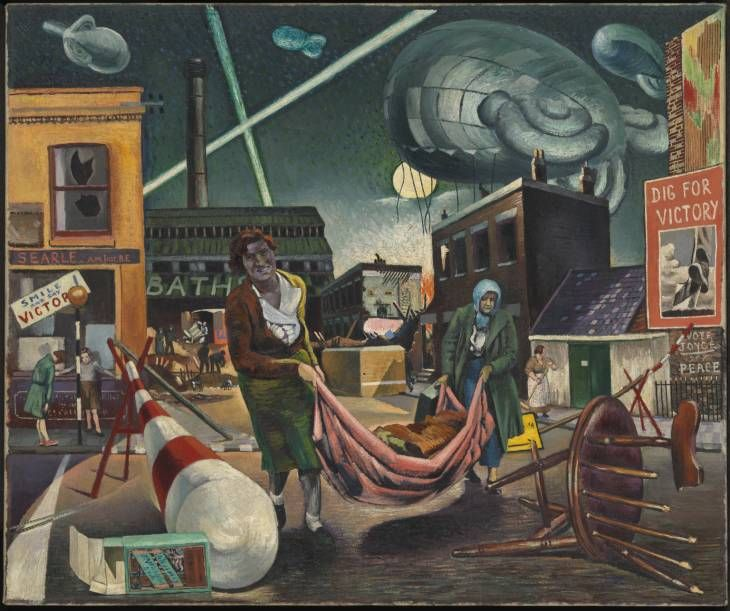 """Clive Branson, """"Bombed Women and Searchlights"""" (1940) (Tate Britain, 13 July 2014) Painted in response to the London Blitz which began in September 1940. Branson was then living in Battersea where he would have witnessed at first hand the devastating air raids. In this painting he employs surrealistic juxtapositions and unusual perspectives to imbue the painting with a startling visual intensity, while at the same time giving an overt critique of the war."""