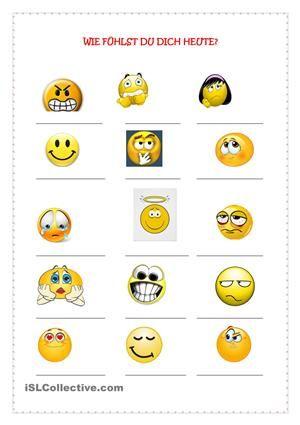 Wortschatz auf Thema GefühleLernende müssem anhand der Bilder Gefühle erraten und sie benennen. AB mit Lösung - DaF Arbeitsblätter