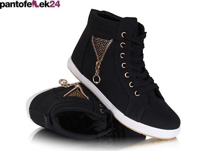 Czarne trampki z krysztalkami / Black sneakers with crystals / 39,90 PLN #sneakers #summer #black #trampki #crystals #lato #spring #wiosna