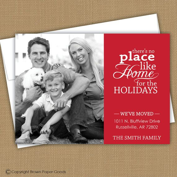 Christmas card, moving announcement, we've moved. There's no place like home. $15.00, via Etsy.