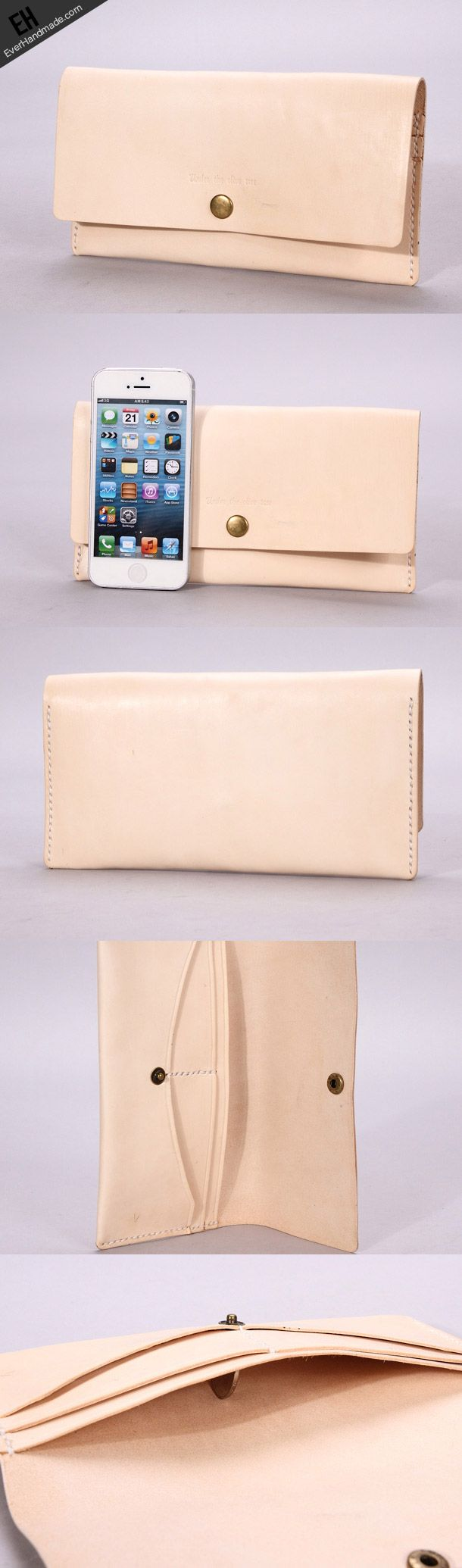 Handmade beige minimalist vintage leather phone clutch long wallet for | EverHandmade