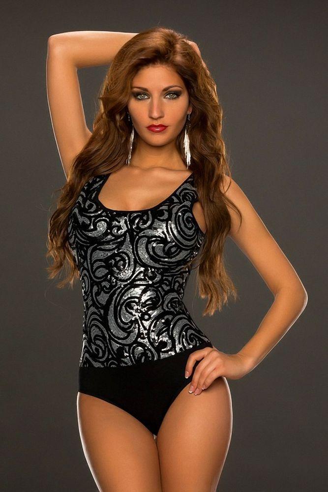 Sexy Silber Pailletten Body Bodyshirt Party Body Teddybär-Wäsche Größe S/M