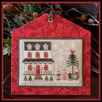 Little House Needleworks Grandma's House - Hometown Holiday - Cross Stitch Pattern. Model stitched over 2 threads on 30 Ct. Natural linen with DMC floss and Cla